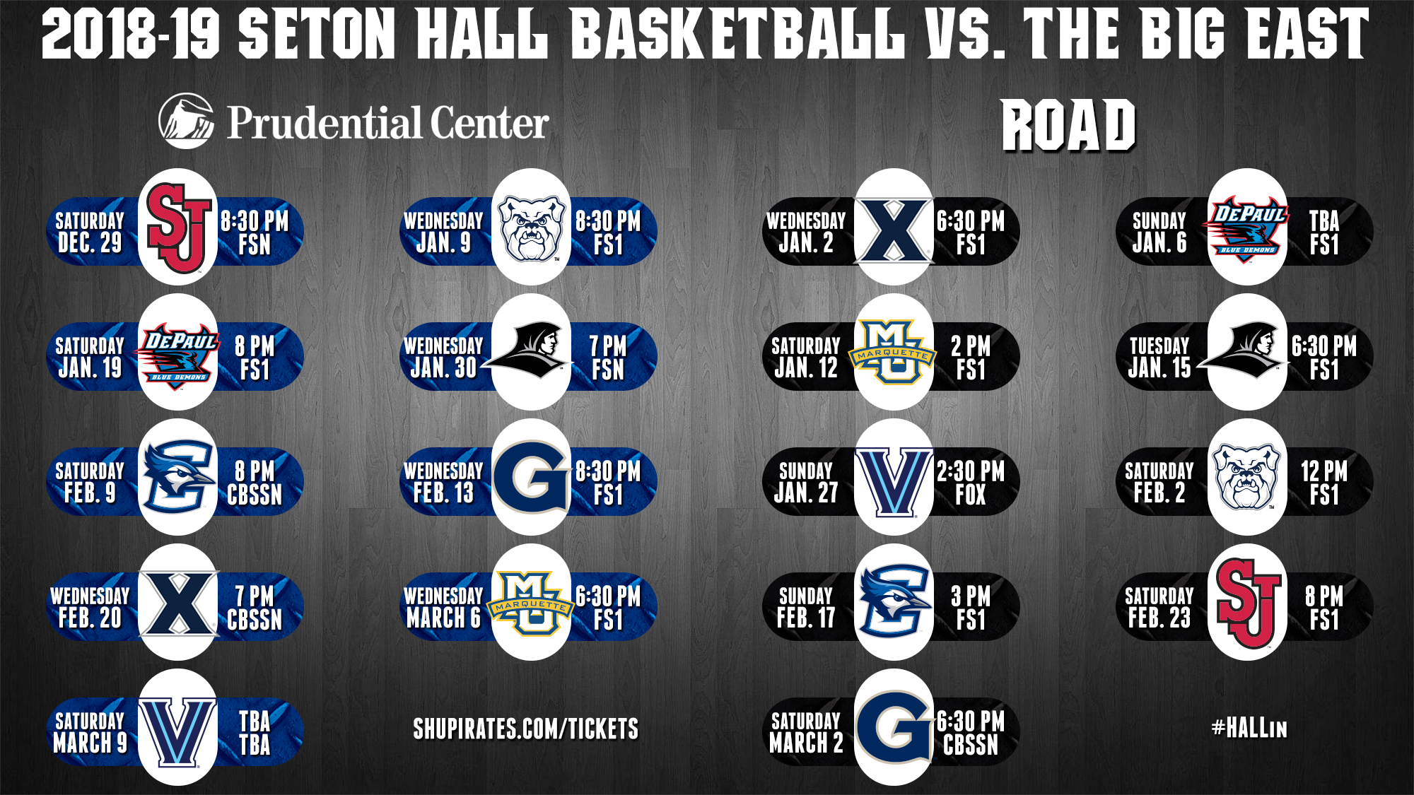 the hall's 2018-19 schedule finalized - seton hall university athletics
